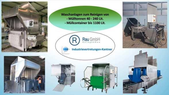 Waschanlage für Abfallgefäße, Mülltonnenwaschanlage, Müllcontainer Waschanlage, Waschstand, Reinigungsvorrichtung